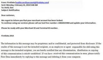 Image of a phishing email