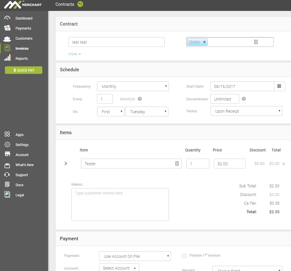 mx invoice app lets you email invoices to clients accept recurring